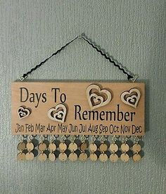 Wooden Family Birthday Reminder. Beech block with HEARTS Calendar Plaque in Home, Furniture & DIY, Home Decor, Plaques & Signs   eBay!