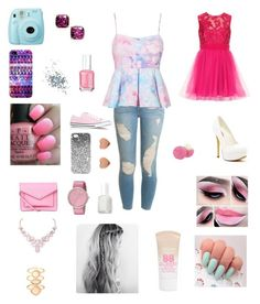 """""""Girly"""" by polyvoretwins ❤ liked on Polyvore featuring Fuji, Casetify, Kate Spade, Topshop, OPI, Essie, Frame Denim, Converse, Michael Antonio and Marc by Marc Jacobs"""