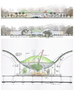 California Academy of Sciences by Renzo Piano / Drawings and Sketches - Architecture Zoo Architecture, Architecture Drawings, Architecture Portfolio, Concept Architecture, Futuristic Architecture, Sustainable Architecture, Architecture Diagrams, Environmental Architecture, Renzo Piano