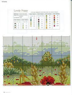 Lovely Poppy 6 of 7 Cross Stitch Tree, Cross Stitch Flowers, Cross Stitch Charts, Cross Stitch Patterns, Cross Stitching, Cross Stitch Embroidery, Embroidery Patterns, Flower Chart, Cross Stitch Geometric