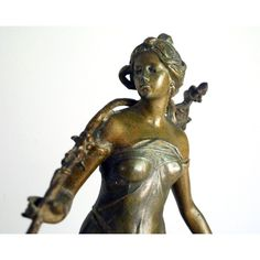 Art Nouveau Statue, Antique French Woman, Bronzed Spelter, L'Automne... ($425) ❤ liked on Polyvore featuring home, home decor, bronze statues, bronze home decor, grapes home decor, fall home decor and bronze statuary