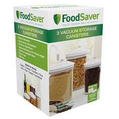 Don't worry about sacrificing freshness with the FoodSaver® 3 Piece Canister Set – the canisters are perfect for storing prepared meals, snacks, baked goods and so much more. This set includes a .75 quart, 1.5 quart and 2.5 quart vacuum storage canisters that work with FoodSaver® systems.