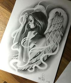 Angel Tattoo Designs Beautiful Lower Back Tattoos Skull, Leg Tattoos, Body Art Tattoos, Sleeve Tattoos, Small Tattoos, Celtic Tattoos, Animal Tattoos, Angel Sleeve Tattoo, Fallen Angel Tattoo