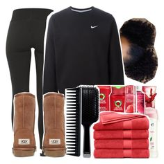 """Just washed my hair... "" by dazzlinperrie ❤ liked on Polyvore featuring NIKE, GHD and UGG Australia"