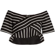Proenza Schouler Striped cotton-blend cropped top ($340) ❤ liked on Polyvore featuring tops, off-shoulder crop tops, black white striped top, striped top, black and white off the shoulder top and off the shoulder crop top