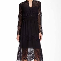 """Black Crochet Midi Dress Gorgeous dress. 44"""". Comes with slip. 37"""". Perfect for any occasion. Dresses Midi"""