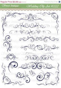 SALE NAVY Flourish Swirls Clip Art Floral Flower Leaf Clipart Silhouette Decorative Bridal Shower Designs DIY Invitations Instant downloads
