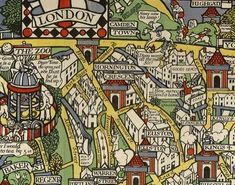 A section of the London Transport poster 'By Paying Us Your Pennies' designed  by Leslie MacDonald Gill in 1914. MacDonald (Max) Gill was Eric Gill's younger brother.   The poster is also known as Wonderground Map of London Town