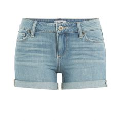 Paige Jimmy Jimmy Shorts ($180) ❤ liked on Polyvore featuring shorts, bottoms, blue, jean shorts, paige denim, denim short shorts, summer shorts and blue jean shorts