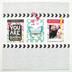 You are my sunshine scrapbook layout.  me & my BIG ideas chalkboard stickers and POCKET PAGES.