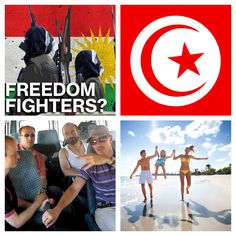 "right: PKK flag/ terrorists & german tourists, who got kidnap by PKK in Turkey. Germany sells weapons to PKK and they attack Turkey since years! Germany claimed PKK is a ""workparty"" in the media since years till PKK kidnaped the Germans! right: Tunisia's Flag & Tourists in Tunisia (Northafrica) can wear a Bikini! - Tunisia has womenrights & humanrights"