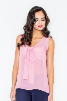 Pink ladies blouse made of chiffon based on wide straps