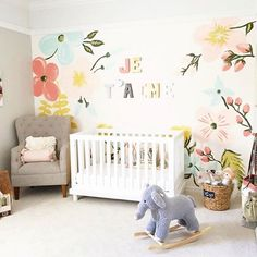 Girls Nursery with hand-painted floral mural for her niece. by @je t'aime olive