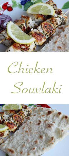 Chicken Souvlaki with Pita Bread and Tzatziki Sauce