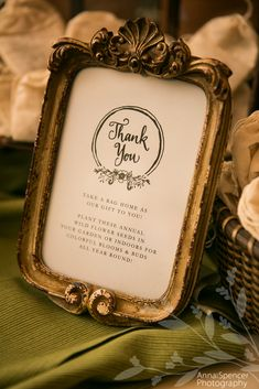 """Anna and Spencer Photography, Atlanta Wedding Photographers. Wedding """"Thank You"""" sign to guests... (also explaining the wedding favor bags.)"""