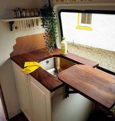 Truck Camper, Camper Life, School Bus Camper, School Bus House, Mini Camper, Camper Hacks, Sink Cover, Kombi Home, Van Home
