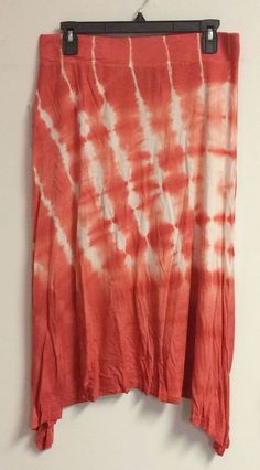 Gloria Vanderbilt Tye Dye Stretch Skirt Coral & White Women's Mid-Calf Length #GloriaVanderbilt #StretchKnit $19.99