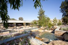 SQLA Inc. // West Hills Cafe Commercial Landscape Design, West Hills, Water Features, Mansions, House Styles, Home Decor, Water Sources, Decoration Home, Manor Houses