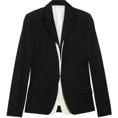 Reed Krakoff Wool and silk blazer (1,265 BAM) ❤ liked on Polyvore featuring outerwear, jackets, blazers, black, tops, tailored blazer, wool blazer, woolen jacket, silk jacket and blazer jacket