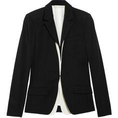 Reed Krakoff Silk vest underlay wool blazer ($735) ❤ liked on Polyvore