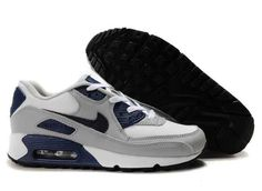 official photos 62268 4b05b UK Market - Nike Air Max 90 Mens Grey White Deep Blue Trainers Nike Air Max
