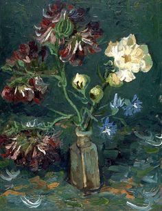 Vase with Myosotis and Peonies - Vincent van Gogh . Created in Paris in June, Located at Van Gogh Museum. Find a print of this Oil on Cardboard Painting Art Van, Van Gogh Art, Vincent Van Gogh, Van Gogh Museum, Flores Van Gogh, Desenhos Van Gogh, Van Gogh Flowers, Van Gogh Pinturas, Peony Painting