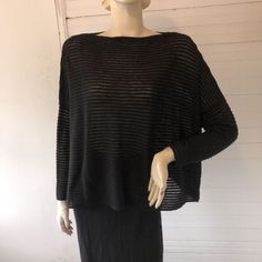 Sarah Pacini Black Ottoman Rib Semi Sheer Boxy Sweater Lagenlook Boutique OSFM #SarahPacini #BoatNeck #Versatile