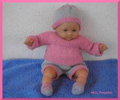 Layette rose et gris pour poupon 30 cm : Jeux, jouets par mcl-poupees