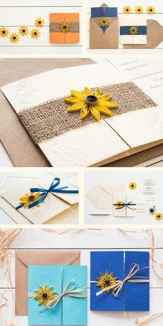 Sunflower wedding invitation ideas for rustic nature weddings