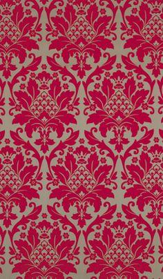 Osborne & Little magenta brocade fabric