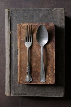 spoon and fork on vintage books Food Photography Props, Photography Composition, Still Life Photos, Color Of Life, Still Life Photography, Wabi Sabi, Vintage Books, Food Styling, Brown And Grey