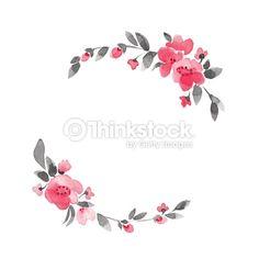 Clipart vectoriel : Couronne de fleurs simples. Aquarelles fleurs de vecteur 3