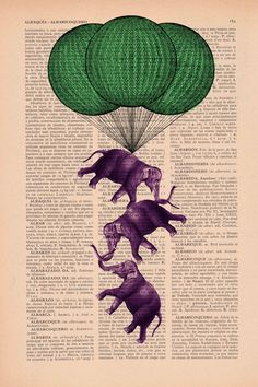 Vintage book print Elephant Circus Balloon
