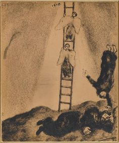Jacob sees in a dream a ladder touching the sky, in which the angels of God ascending and descending (Genesis, XXVIII, - Marc Chagall Sky, Marc Chagall, Naive Art, Painting, Naïve Artist, Biblical Art, Russian Avant Garde, Artwork, Jewish Art