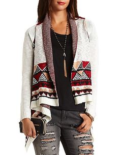 Tribal Cardigan #fashion #style https://charlotterusse.strongbark.com/?utm_source=Pinterest&utm_medium=SocialMedia&utm_campaign=WomenBoard