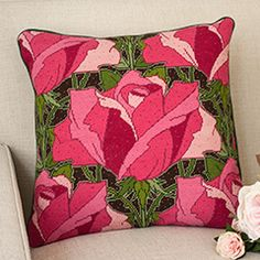 Erhman Tapestry Roses needlepoint kit Needlepoint Pillows, Needlepoint Kits, Cross Stitch Flowers, Cross Stitch Patterns, Cushion Cover Pattern, Cross Stitch Pillow, Embroidery Techniques, Beaded Embroidery, Needlework