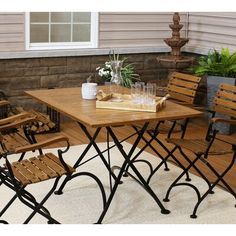 Metal Folding Table, Wood Folding Chair, Fine Dining, Dining Table, Wood And Metal, Solid Wood, Wooden Tables, 3 Piece Dining Set, Happy Goat