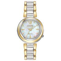 Citizen Eco-Drive Women's Citizen L Sunrise Two-Tone Watch. This Eco-Drive watch is powered by light, and features a two-tone stainless steel case and bracelet. Has a waved mother of pearl dial and includes with sapphire crystal. Stainless Steel Watch, Stainless Steel Bracelet, Cool Watches, Watches For Men, Ladies Watches, Citizen Eco, Watch Brands, Lady, Jewelry Stores