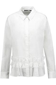 McQ Alexander McQueenRuffled cotton-poplin blouse