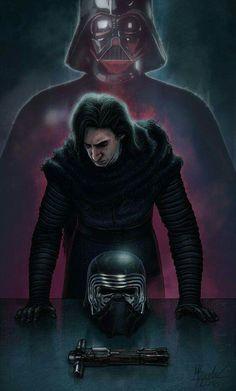 Kylo Ren and Darth Vader Star Wars Star Wars Film, Star Trek, Star Wars Saga, Star Wars Fan Art, Star Wars Tumblr, Chewbacca, Knights Of Ren, Lorde, Arte Dc Comics