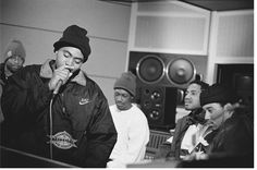 Nas in the studio during recording sessions for his first album Illmatic, New York, 1994