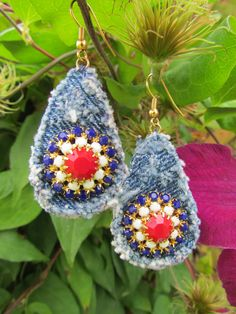 Earrings - Recycled  Denim Drop Earrings with Vintage Accents - Red, White and Blue - OOAK. $17.00, via Etsy.