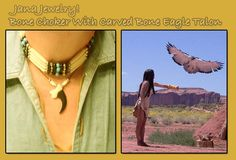 Mashonee Bone Choker With Turquoise And Black Beads And Carved Bone Eagle Talon -Review the Jana Jewelry Collection off of: http://www.indianvillagemall.com/janajewelry.html