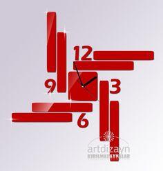 Modern wall clock red color large design for unique living room decor Shatterproof