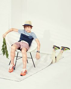 APR '14 Style Guide: J.Crew contrast pocket tee, contrast brim trilby hat, cotton braided belt and the New Balance® for Crewcuts K1300 lace-up sneakers in red.