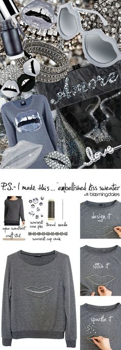 P.S.- I made this...Embellished Kiss Sweater with @Bloomingdale's #Aqua #PSIMADETHIS #DIY