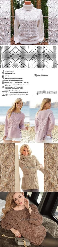 passionforum.ru Sweater Knitting Patterns, Knit Patterns, Hand Knitting, Knit Crochet, Crochet Hats, Knitting Projects, Sweater Cardigan, Stitch, Lace