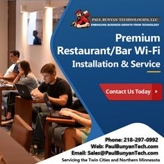 Paul Bunyan Technologies can install a Secure and reliable Guest Wi-Fi Solution in your Restaurant or Bar for your Guest. We offer the latest technology in Wi-Fi. We offer many different features such as Cloud Base Management Portal, Facebook Check-In, and 24/7 Monitoring and...