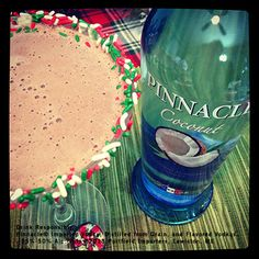 # 11 Chocolate Covered Coconut Martini 2 parts Pinnacle® Coconut Vodka 1 part JDK & Sons™ Crave Chocolate Mint Liqueur 2 parts Chocolate Milk Shake with ice and strain into chilled cocktail glass. Garnish with sprinkles.
