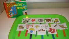 """Toddler School Tray: """"Goodnight Moon""""- Have child hold up corresponding popsicle stick when you read the item in the book    Great idea, but how can I adapt it to tactile signing/braille?"""